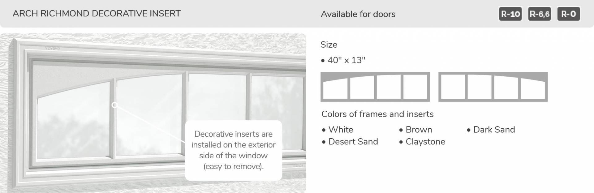 Arch Richmond Decorative Insert, 40' x 13', available for doors R-10, R-6.6, R-0
