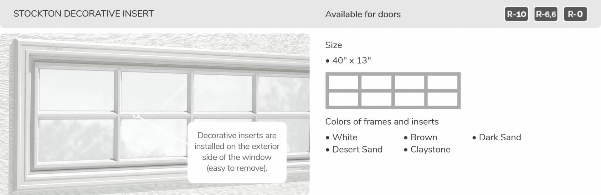 Stockton Decorative Insert, 40' x 13', available for doors R-10, R-6.6, R-0